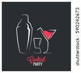cocktail shaker design... | Shutterstock .eps vector #590242673