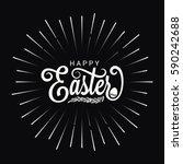 easter vintage lettering star... | Shutterstock .eps vector #590242688