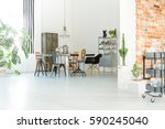 bright loft interior with... | Shutterstock . vector #590245040
