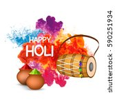 happy holi background | Shutterstock .eps vector #590251934