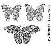 butterfly in an mandalas... | Shutterstock .eps vector #590254274
