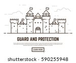 linear style castle vector... | Shutterstock .eps vector #590255948