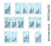 set of transparent windows with ... | Shutterstock .eps vector #590256620