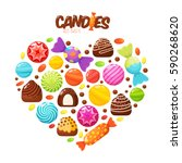 sweet candies flat icons set.... | Shutterstock .eps vector #590268620