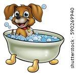 a cartoon dog having a bath...   Shutterstock .eps vector #590269940