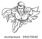 super hero in a cartoon popart... | Shutterstock .eps vector #590270030