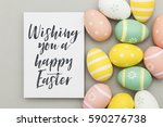seasonal easter message with... | Shutterstock . vector #590276738
