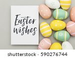 seasonal easter message with... | Shutterstock . vector #590276744