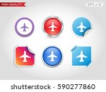 button with plane icon. modern...