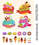 food labels with donuts  ice... | Shutterstock .eps vector #590278190