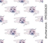 Doodle Scull In Pink Fog With...