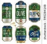 olive oil retro vintage gold... | Shutterstock .eps vector #590284148