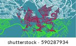 detailed vector map of cardif... | Shutterstock .eps vector #590287934