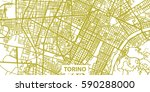 detailed vector map of torino... | Shutterstock .eps vector #590288000