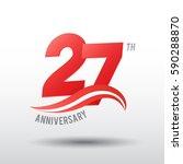 27 years anniversary... | Shutterstock .eps vector #590288870