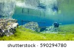 Fresh water lake in Austria with scuba diver. Every spring the melted iceberg and snow from the mountains permeate through bedrock and flood small lake surrounding. The diver is next footbridge.