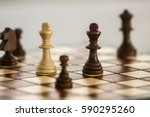 black and white chess figures...   Shutterstock . vector #590295260