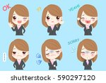 cute cartoon businesswoman do... | Shutterstock .eps vector #590297120
