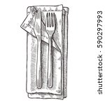 napkin sketch with cutlery.... | Shutterstock .eps vector #590297993