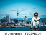 asian girl traveling auckland  | Shutterstock . vector #590298104