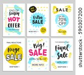 mobile sale banners template... | Shutterstock .eps vector #590307200