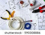 different electrical tools on... | Shutterstock . vector #590308886