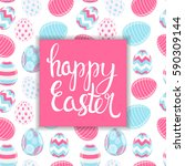 happy easter spring holiday... | Shutterstock .eps vector #590309144