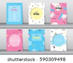 set of birthday card on retro... | Shutterstock .eps vector #590309498
