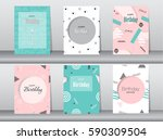 set of birthday card on retro... | Shutterstock .eps vector #590309504