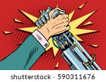 man vs robot arm wrestling... | Shutterstock .eps vector #590311676