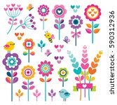 set of retro style flowers ... | Shutterstock .eps vector #590312936