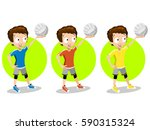 cartoon volleyball player set | Shutterstock .eps vector #590315324