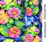 beautiful watercolor seamless... | Shutterstock . vector #590318708