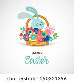 happy easter greeting card ... | Shutterstock .eps vector #590321396