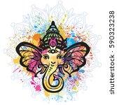 hindu lord ganesha over mandala ... | Shutterstock .eps vector #590323238