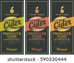set of three labels for a cider ... | Shutterstock .eps vector #590330444
