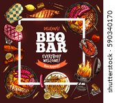 bbq grill bar color sketch hand ... | Shutterstock .eps vector #590340170
