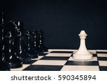 Small photo of chess pawn against all