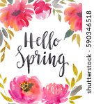 watercolor floral background... | Shutterstock . vector #590346518