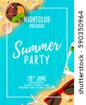 beautiful flyer for summer... | Shutterstock .eps vector #590350964