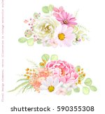 Stock vector collection vector decorative design of flowers rose cosmos peony phlox pyrethrum and leaves 590355308