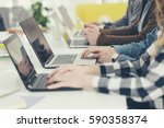 hands of group of... | Shutterstock . vector #590358374