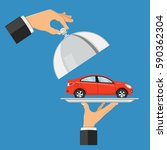 hand holds the car on a tray.... | Shutterstock .eps vector #590362304