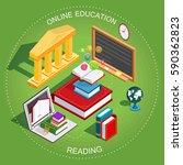 online education isometric. the ... | Shutterstock .eps vector #590362823