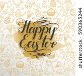 greeting card with easter... | Shutterstock .eps vector #590365244