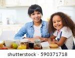 family portrait of beautiful... | Shutterstock . vector #590371718