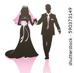 wedding couple   bride and... | Shutterstock .eps vector #590373149