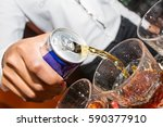 energy drink being poured by... | Shutterstock . vector #590377910
