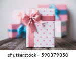 stylish handmade gift box polka ... | Shutterstock . vector #590379350