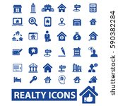 realty icons  | Shutterstock .eps vector #590382284